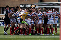 tempers flare with a stream of tackles considered to be high during the Kingstone Press Championship match between London Broncos and Rochdale Hornets at Castle Bar , West Ealing , England  on 26 March 2017. Photo by Steve Ball / PRiME Media Images.