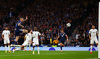 9th October 2021; Hampden Park, Glasgow, Scotland; FIFA World Cup football qualification, Scotland versus Israel;  Lyndon Dykes of Scotland makes it 2-2 in the 57th minute but his goal is ruled out at first, before a VAR decision confirms the goal