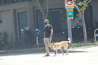 Rufus Sewell Walks his dog in Hollywood