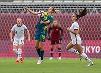 KASHIMA, JAPAN - JULY 27: Emily van Egmond #10 of Australia controls the ball during a game between Australia and USWNT at Ibaraki Kashima Stadium on July 27, 2021 in Kashima, Japan.