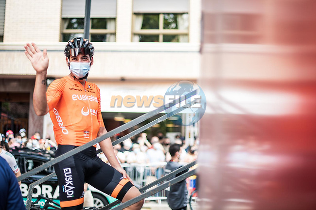 Euskaltel-Euskadi at sign on before the start of Stage 6 of La Vuelta d'Espana 2021, running 158.3km from Requena to Alto de la Montaña Cullera, Spain. 19th August 2021.    <br /> Picture: Charly Lopez/Unipublic | Cyclefile<br /> <br /> All photos usage must carry mandatory copyright credit (© Cyclefile | Unipublic/Charly Lopez)