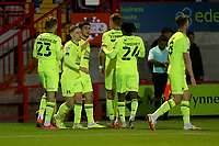 Ruel Sotiriou of Leyton Orient scores the first goal for his team and celebrates with his team mates during Crawley Town vs Leyton Orient, Papa John's Trophy Football at The People's Pension Stadium on 5th October 2021