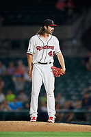 Rochester Red Wings relief pitcher John Curtiss (48) looks in for the sign during a game against the Lehigh Valley IronPigs on June 30, 2018 at Frontier Field in Rochester, New York.  Lehigh Valley defeated Rochester 6-2.  (Mike Janes/Four Seam Images)