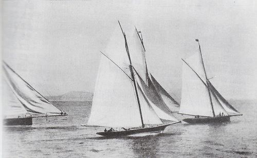 Historic snapshot of the frontline yachts of the late 1880s – the start of a Royal Alfred YC cross-channel race to Holyhead in 1888