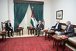Palestinian President Mahmoud Abbas, meets with Jordanian Foreign Minister Ayman Safadi, in the West Bank city of Ramallah, on November 12, 2020. Photo by Thaer Ganaim