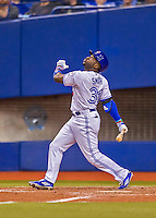 2 April 2016: The Toronto Blue Jays outfielder Dwight Smith Jr. in action during a pre-season exhibition game against the Boston Red Sox at Olympic Stadium in Montreal, Quebec, Canada. The Red Sox defeated the Blue Jays 7-4 in the second of two MLB weekend games, which saw a two-game series attendance of 106,102 at the former home on the Montreal Expos. Mandatory Credit: Ed Wolfstein Photo *** RAW (NEF) Image File Available ***