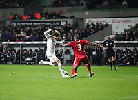 League Cup Quarter Final, Swansea V Middlesbrough, Liberty Stadium, 12/12/12<br /> Picture by: Ben Wyeth<br /> Pictured: (L-R) Michu and Andre Bikey.<br /> Athena Picture Agency