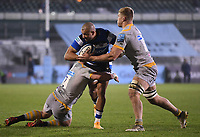 8th January 2021; Recreation Ground, Bath, Somerset, England; English Premiership Rugby, Bath versus Wasps; Tom Cruse of Wasps tackles Jonathan Joseph of Bath
