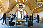 June 1, 2021; MBA welcome tour at the Stayer Center. (Photo by Barbara Johnston/University of Notre Dame)