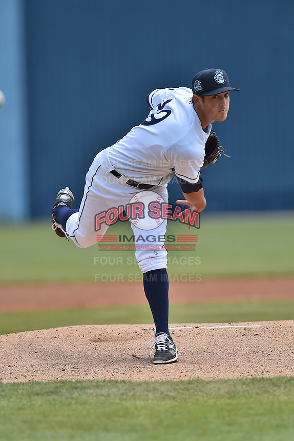 Asheville Tourists starting pitcher Zach Jemiola (29) warms up before a game against the Lexington Legends on May 3, 2015 in Asheville, North Carolina. The Legends defeated the Tourists 6-3. (Tony Farlow/Four Seam Images)