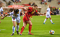 Albanian Lucie Gjini pictured fighting for the ball with Davinia Vanmechelen (14) of Belgium during a female soccer game between the national teams of Belgium , called the Red Flames and Albania in the second game in the qualification for the  FIFA Women's World Cup in group F , on tuesday 21 st of September 2021  in Brussels , Belgium . PHOTO SPORTPIX