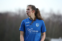 Hanne Merkelbach (25) of KRC Genk pictured during a female soccer game between Oud Heverlee Leuven and Racing Genk on the 14 th matchday of the 2020 - 2021 season of Belgian Womens Super League , sunday 28 th of February 2021  in Heverlee , Belgium . PHOTO SPORTPIX.BE | SPP | SEVIL OKTEM