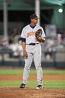 Bowie Baysox relief pitcher Jesus Liranzo (30) looks in for the sign during a game against the Harrisburg Senators on May 16, 2017 at FNB Field in Harrisburg, Pennsylvania.  Bowie defeated Harrisburg 6-4.  (Mike Janes/Four Seam Images)