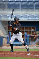 Bradenton Maruaders Lolo Sanchez (18) bats during a Florida State League game against the Charlotte Stone Crabs on August 7, 2019 at Charlotte Sports Park in Port Charlotte, Florida.  Charlotte defeated Bradenton 3-2 in the second game of a doubleheader.  (Mike Janes/Four Seam Images)