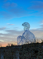 The Nomade sculpture by spanish sculptor Juame Plense overlooks Port Vauban in Antibes, France