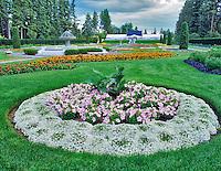 Allysum and petunia circle. Duncan Garden. Manito Park. Spokane, Washington