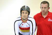 Southland's Steph McKenzie with coach Stu MacDonald at the BikeNZ Elite & U19 Track National Championships, Avantidrome, Home of Cycling, Cambridge, New Zealand, Sunday, March 16, 2014. Credit: Dianne Manson