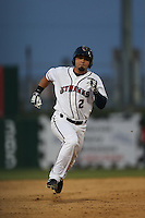 Jack Mayfield (2) of the Lancaster JetHawks runs the bases during a game against the Lake Elsinore Storm at The Hanger on May 9, 2015 in Lancaster, California. Lancaster defeated Lake Elsinore, 3-1. (Larry Goren/Four Seam Images)