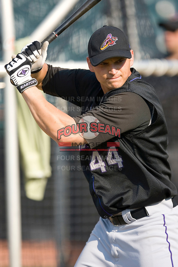Ryan Goleski (44) of the Akron Aeros during batting practice at Prince Georges Stadium in Bowie, MD, Tuesday June 17, 2008.