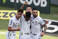 Santos (SP), 11.10.2020 - Santos-Grêmio - O jogador marinho comemora gol. Partida entre Santos e Grêmio valida pela 15. rodada do Campeonato Brasileiro neste domingo (11) no estadio da Vila Belmiro em Santos.