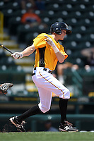 Bradenton Marauders second baseman Erich Weiss (6) at bat during a game against the St. Lucie Mets on April 12, 2015 at McKechnie Field in Bradenton, Florida.  Bradenton defeated St. Lucie 7-5.  (Mike Janes/Four Seam Images)