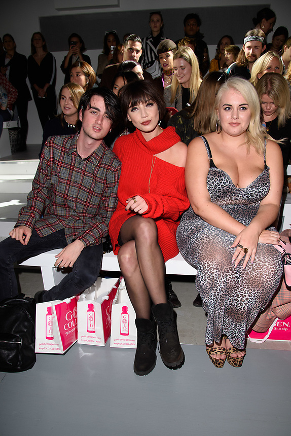 Daisy Lowe, brother and Felicity Hayward<br /> front row at the Marta Jacubowski London Fashion Week SS18 catwalk show, London<br /> <br /> ©Ash Knotek  D3431  14/09/2018