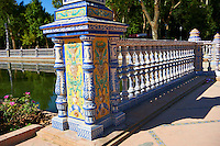Tiled architectural details of the Plaza de Espana in Seville built in 1928 for the Ibero-American Exposition of 1929, Seville Spain