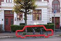 Bicycle stand illustrating how muc space a car would take up.<br /> © Fredrik Naumann/Felix Features