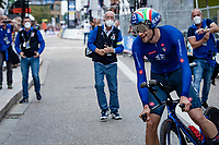 Filippo Ganna (ITA/Ineos Grenadiers) renews his TT World Title by winning the race<br /> <br /> Men Elite Individual Time Trial <br /> from Knokke-Heist to Bruges (43.3 km)<br /> <br /> UCI Road World Championships - Flanders Belgium 2021<br /> <br /> ©kramon