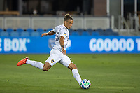 SAN JOSE, CA - OCTOBER 03: Rolf Fletscher #25 of the LA Galaxy kicks the ball during a game between Los Angeles Galaxy and San Jose Earthquakes at Earthquakes Stadium on October 03, 2020 in San Jose, California.