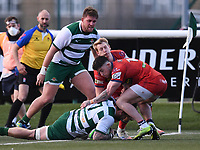 20th February 2021; Trailfinders Sports Club, London, England; Trailfinders Challenge Cup Rugby, Ealing Trailfinders versus Doncaster Knights; Guy Thompson of Ealing Trailfinders scores a try under pressure from Kyle Evans of Doncaster Knights