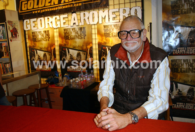 """**ALL ROUND PICTURES FROM SOLARPIX.COM**.**SYNDICATION RIGHTS FOR UK, SPAIN, PORTUGAL, AUSTRALIA, S.AFRICA & DUBAI (U.A.E) ONLY**.In Store with George A. Romero promoting """"Diary of the Dead"""" - Golden Apple Comics - Los Angeles, CA, USA. 9th February 2008..This pic: George A. Romero..JOB REF: 5748 PHZ    DATE: 09_02_2008.**MUST CREDIT SOLARPIX.COM OR DOUBLE FEE WILL BE CHARGED* *UNDER NO CIRCUMSTANCES IS THIS IMAGE TO BE REPRODUCED FOR ANY ONLINE EDITION WITHOUT PRIOR PERMISSION*"""