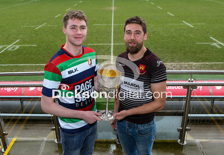 Monday 24th February 2020 | Deep River Rock Ulster Towns Cup Semi-Final Draw<br /> <br /> Pictured with the Deep River Rock Ulster Towns Cup are Ballyclare RFC captain Josh Young and Carrick RFC captain Johnny Sherriff. Photo by John Dickson / DICKSONDIGITAL