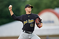 West Virginia Black Bears relief pitcher Michael LoPresti (43) delivers a pitch during a game against the Batavia Muckdogs on June 19, 2018 at Dwyer Stadium in Batavia, New York.  West Virginia defeated Batavia 7-6.  (Mike Janes/Four Seam Images)