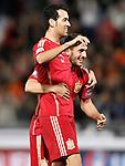 Spain's Sergio Busquets (l) and Koke Resurreccion celebrate goal during 15th UEFA European Championship Qualifying Round match. November 15,2014.(ALTERPHOTOS/Acero)