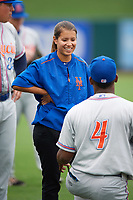 St. Lucie Mets Mental Skills Coach Sabrina Gomez during warmups before the second game of a doubleheader against the Lakeland Flying Tigers on June 10, 2017 at Joker Marchant Stadium in Lakeland, Florida.  Lakeland defeated St. Lucie 9-1.  (Mike Janes/Four Seam Images)