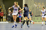 Berlin, Germany, February 10: During the FIH Indoor Hockey World Cup semi-final match between Belarus (dark blue) and Germany (white) on February 10, 2018 at Max-Schmeling-Halle in Berlin, Germany. Final score 2-3. (Photo by Dirk Markgraf / www.265-images.com) *** Local caption *** Anne SCHROEDER #8 of Germany