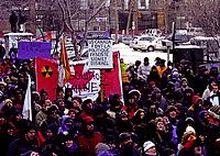 anti war<br /> demonstration circa 2003<br /> <br /> FILE PHOTO : Agence quebec Presse