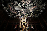 """The painted """"twin dragon"""" roof at Kennin-ji Temple, Kyoto"""