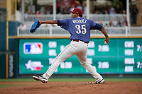 Frisco RoughRiders pitcher Esmerling Vasquez (35) during a Texas League game against the Midland RockHounds on May 21, 2019 at Dr Pepper Ballpark in Frisco, Texas.  (Mike Augustin/Four Seam Images)