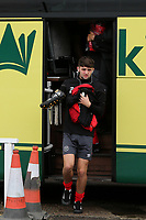 Joe Adams of Brentford gets off the coach carrying his boots ahead of kick-off during Bromley vs Brentford B, Friendly Match Football at Hayes Lane on 3rd October 2020