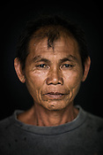 56 year old Tuna fisherman, Patricio Sarino poses for a portrait at the Casa, the Tuna buying house in Puerto Princesa, Palawan in the Philippines. <br /> Photo: Sanjit Das/Panos for Greenpeace