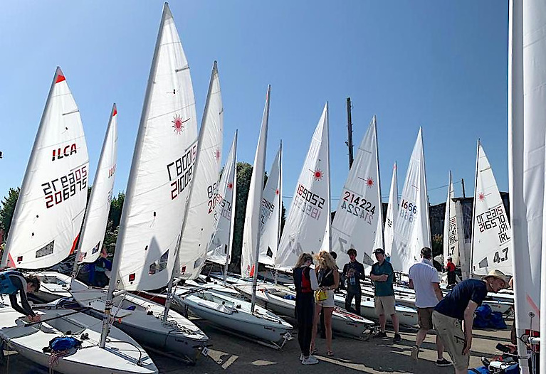 The scene at Wexford Harbour Boat Club for the Laser 'Connaught' Championships