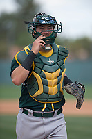 Oakland Athletics catcher Collin Theroux (55) during a Minor League Spring Training game against the San Francisco Giants at Lew Wolff Training Complex on March 26, 2018 in Mesa, Arizona. (Zachary Lucy/Four Seam Images)