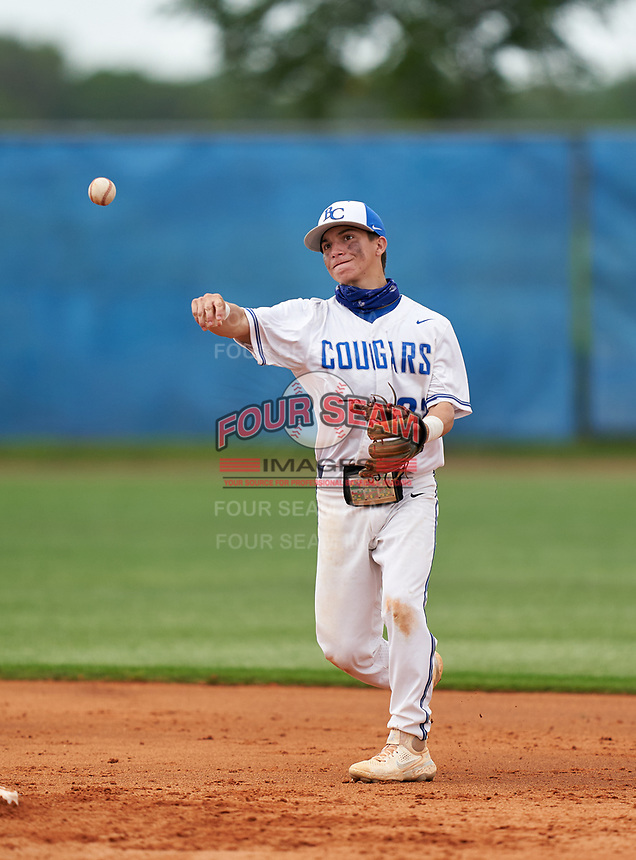Barron Collier Cougars second baseman Mac O'Malley (22) during the IMG National Classic on March 29, 2021 at IMG Academy in Bradenton, Florida.  (Mike Janes/Four Seam Images)