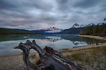 Idaho, South Central, Stanley. Redfish Lake and the Sawtooth Range in morning light of Spring.