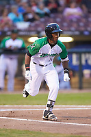 Jeter Downs (2) of the Dayton Dragons hustles down the first base line against the Bowling Green Hot Rods at Fifth Third Field on June 8, 2018 in Dayton, Ohio. The Hot Rods defeated the Dragons 11-4.  (Brian Westerholt/Four Seam Images)