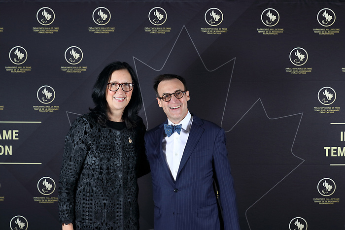 Vancouver, B.C. - November 15th, 2019 - COC President Tricia Smith and CPC President Marc-Andre Fabien at the 2019 Canadian Paralympic Hall of Fame Induction Ceremony. Photo: Lydia Nagai/Canadian Paralympic Committee