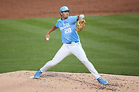 North Carolina Tar Heels starting pitcher Max Alba (28) in action against the South Carolina Gamecocks at Truist Field on April 6, 2021 in Charlotte, North Carolina. (Brian Westerholt/Four Seam Images)