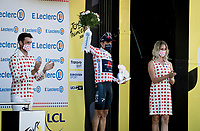 Polka Dot Jersey / KOM leader Richard Carapaz (ECU/Ineos Grenadiers) on the podium<br /> <br /> <br /> Stage 19 from Bourg-en-Bresse to Champagnole (167km)<br /> <br /> 107th Tour de France 2020 (2.UWT)<br /> (the 'postponed edition' held in september)<br /> <br /> ©kramon